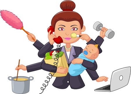 37538177 - cartoon multitasking housewife